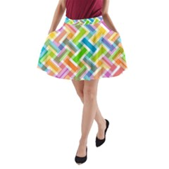 Abstract Pattern Colorful Wallpaper Background A Line Pocket Skirt