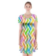 Abstract Pattern Colorful Wallpaper Background Short Sleeve V Neck Flare Dress