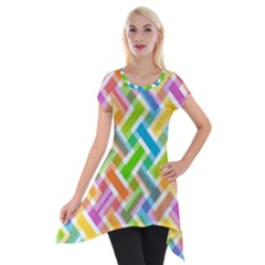 Abstract Pattern Colorful Wallpaper Background Short Sleeve Side Drop Tunic