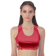 Floral Roses Pattern Background Seamless Sports Bra
