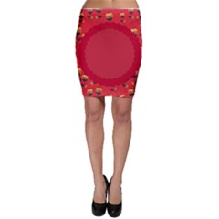 Floral Roses Pattern Background Seamless Bodycon Skirt