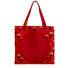 Floral Roses Pattern Background Seamless Zipper Grocery Tote Bag