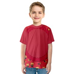 Floral Roses Pattern Background Seamless Kids  Sport Mesh Tee