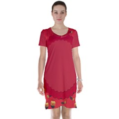 Floral Roses Pattern Background Seamless Short Sleeve Nightdress