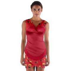 Floral Roses Pattern Background Seamless Wrap Front Bodycon Dress