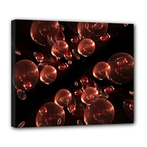 Fractal Chocolate Balls On Black Background Deluxe Canvas 24  x 20
