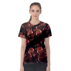 Fractal Chocolate Balls On Black Background Women s Sport Mesh Tee