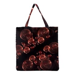 Fractal Chocolate Balls On Black Background Grocery Tote Bag