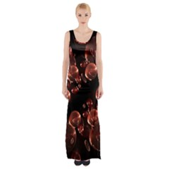Fractal Chocolate Balls On Black Background Maxi Thigh Split Dress