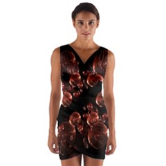 Fractal Chocolate Balls On Black Background Wrap Front Bodycon Dress