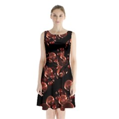 Fractal Chocolate Balls On Black Background Sleeveless Chiffon Waist Tie Dress