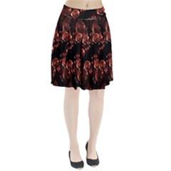 Fractal Chocolate Balls On Black Background Pleated Skirt
