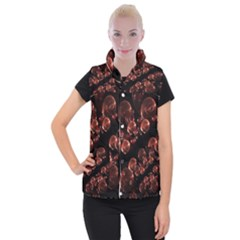 Fractal Chocolate Balls On Black Background Women s Button Up Puffer Vest