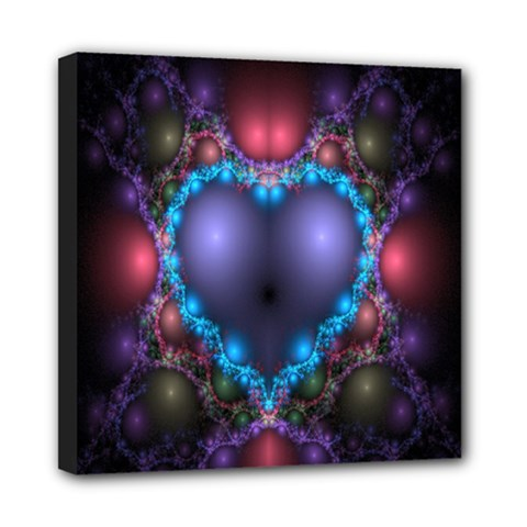 Blue Heart Fractal Image With Help From A Script Mini Canvas 8  X 8