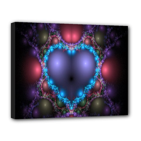 Blue Heart Fractal Image With Help From A Script Canvas 14  X 11