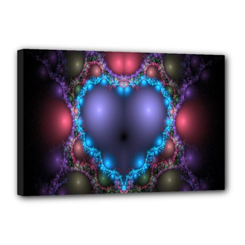 Blue Heart Fractal Image With Help From A Script Canvas 18  X 12