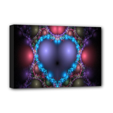 Blue Heart Fractal Image With Help From A Script Deluxe Canvas 18  x 12