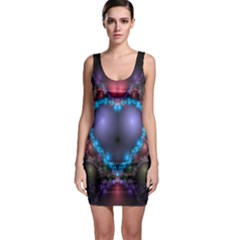 Blue Heart Fractal Image With Help From A Script Sleeveless Bodycon Dress