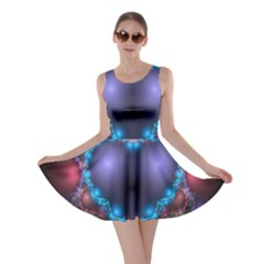 Blue Heart Fractal Image With Help From A Script Skater Dress