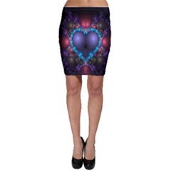 Blue Heart Fractal Image With Help From A Script Bodycon Skirt