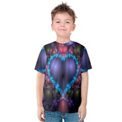 Blue Heart Fractal Image With Help From A Script Kids  Cotton Tee