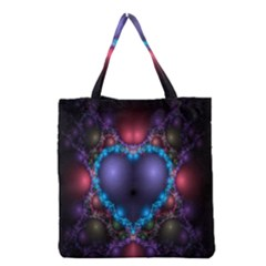Blue Heart Fractal Image With Help From A Script Grocery Tote Bag