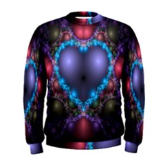 Blue Heart Fractal Image With Help From A Script Men s Sweatshirt