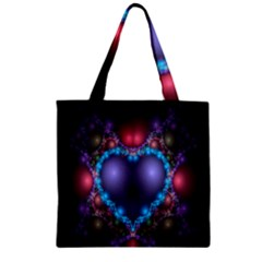 Blue Heart Fractal Image With Help From A Script Zipper Grocery Tote Bag