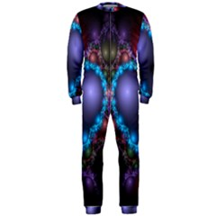 Blue Heart Fractal Image With Help From A Script Onepiece Jumpsuit (men)