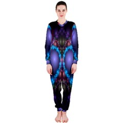 Blue Heart Fractal Image With Help From A Script Onepiece Jumpsuit (ladies)
