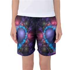 Blue Heart Fractal Image With Help From A Script Women s Basketball Shorts
