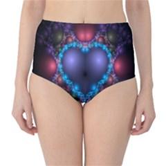 Blue Heart Fractal Image With Help From A Script High Waist Bikini Bottoms