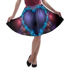 Blue Heart Fractal Image With Help From A Script A Line Skater Skirt
