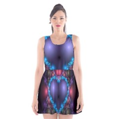 Blue Heart Fractal Image With Help From A Script Scoop Neck Skater Dress