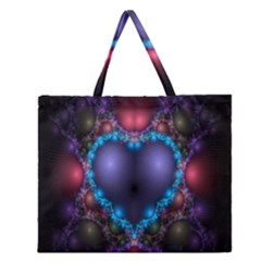 Blue Heart Fractal Image With Help From A Script Zipper Large Tote Bag