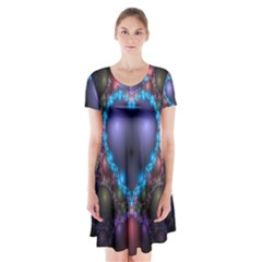 Blue Heart Fractal Image With Help From A Script Short Sleeve V-neck Flare Dress
