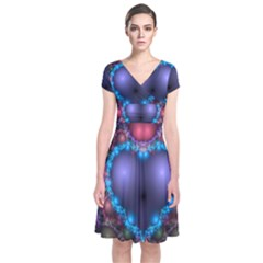 Blue Heart Fractal Image With Help From A Script Short Sleeve Front Wrap Dress