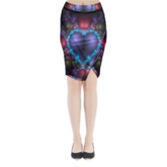 Blue Heart Fractal Image With Help From A Script Midi Wrap Pencil Skirt