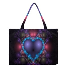 Blue Heart Fractal Image With Help From A Script Medium Tote Bag