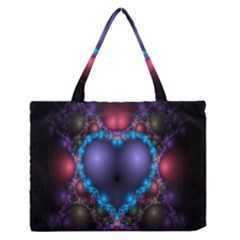 Blue Heart Fractal Image With Help From A Script Medium Zipper Tote Bag