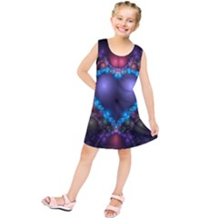 Blue Heart Fractal Image With Help From A Script Kids  Tunic Dress
