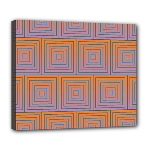 Brick Wall Squared Concentric Squares Deluxe Canvas 24  x 20