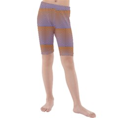 Brick Wall Squared Concentric Squares Kids  Mid Length Swim Shorts