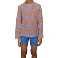 Brick Wall Squared Concentric Squares Kids  Long Sleeve Swimwear