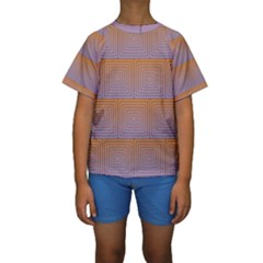 Brick Wall Squared Concentric Squares Kids  Short Sleeve Swimwear