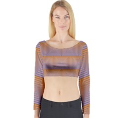 Brick Wall Squared Concentric Squares Long Sleeve Crop Top