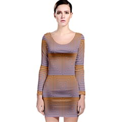 Brick Wall Squared Concentric Squares Long Sleeve Bodycon Dress
