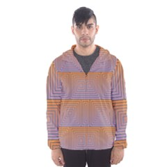 Brick Wall Squared Concentric Squares Hooded Wind Breaker (men)
