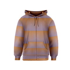 Brick Wall Squared Concentric Squares Kids  Zipper Hoodie