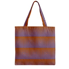 Brick Wall Squared Concentric Squares Zipper Grocery Tote Bag